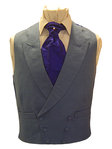 Plain Linen Double Breasted Waistcoat (Grey)
