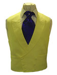 Plain Linen Double Breasted Waistcoat (Yellow)