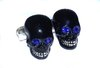 Skull Cufflinks (Black Enamel, Blue Crystals and Sterling Silver)