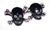 Skull and Crossbones Cufflinks (Black Enamel, Clear Crystals and Sterling Silver)