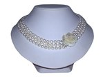 Freshwater Pearl Necklace with Flower Clasp Design
