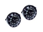 Japanese Movement Black Round Quartz Watch Cufflinks