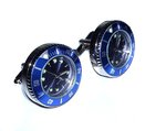 Japanese Movement Blue Round Quartz Watch Cufflinks