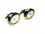 Oval Gilt Quartz Watch Cufflinks (Plain Front, Rhodium Plated)