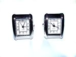 Latin Rectangle Quartz Watch Cufflinks (Rhodium Plated)