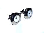 Oval Rhodium Plated Quartz Watch Cufflinks (1)