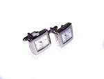Rectangle Rhodium Plated Quartz Watch Cufflinks (1)