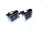 Rectangle Matt and Shiny Quartz Watch Cufflinks