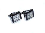 Rectangle Rhodium Plated Quartz Watch Cufflinks (2)