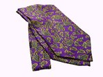 Yellow Pattern on Purple Background Silk Cravat